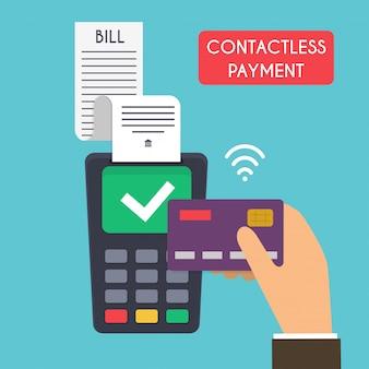 Kontaktlose zahlung. männliche hand, die kreditkarte hält. illustration der drahtlosen mobilen zahlung per kreditkarte