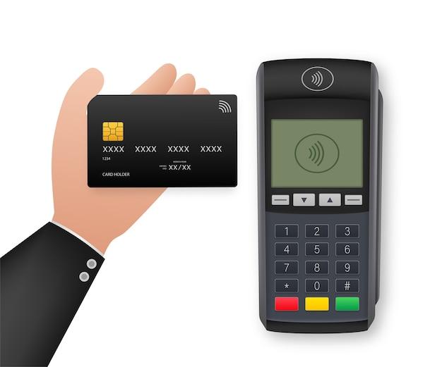 Kontaktlose zahlungsmethoden mobiles smartphone und drahtloses pos-terminal im realistischen stil