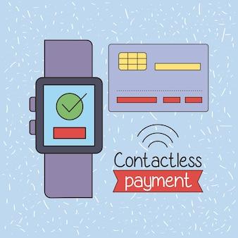 Kontaktlose zahlungstechnologie in smartwatch