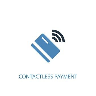 Kontaktloses zahlungskonzept 2 farbiges symbol. einfache blaue elementillustration. kontaktloses zahlungskonzept symboldesign. kann für web- und mobile ui/ux verwendet werden