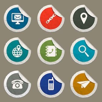 Kontaktsymbole für websites und benutzeroberfläche festgelegt