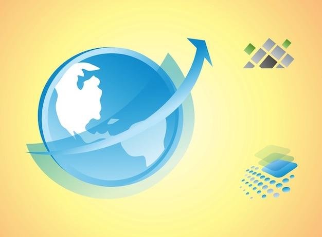 Kontinent logos packen in vektor