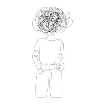 Kontinuierliche einzeilige zeichnung einer frau mit verwirrten, unordentlichen gefühlen, die sich sorgen um eine schlechte psychische gesundheit machen ...