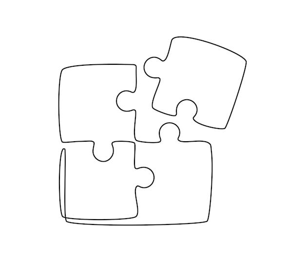 Kontinuierliche einzeilige zeichnung einer verbundenen puzzlespielgruppe, teamarbeit, zusammenarbeit und geschäfts...