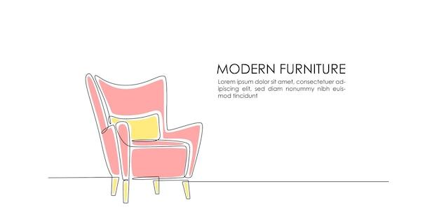 Kontinuierliche einzeilige zeichnung eines rosa sessels mit gelbem kissen und modern furniture-schriftzug Premium Vektoren