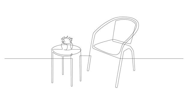 Kontinuierliche einzeilige zeichnung eines stuhls und eines tisches mit einer heimischen pflanze darauf auf weißem hintergrund