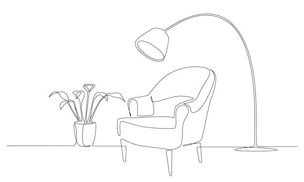 Kontinuierliche einzeilige zeichnung von sessel mit lampe und pflanze skandinavischen stilmöbeln in einfachen...