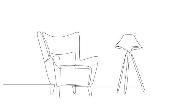 Kontinuierliche einzeilige zeichnung von sessel und stehlampe auf weißem hintergrund