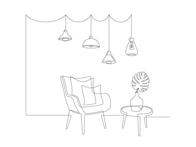 Kontinuierliche einzeilige zeichnung von sessel und tisch mit vase mit monstera-blatt und hängendem anhänger...