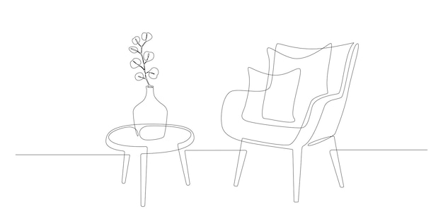 Kontinuierliche einzeilige zeichnung von sessel und tisch mit vase mit skandinavischen stilvollen möbeln...
