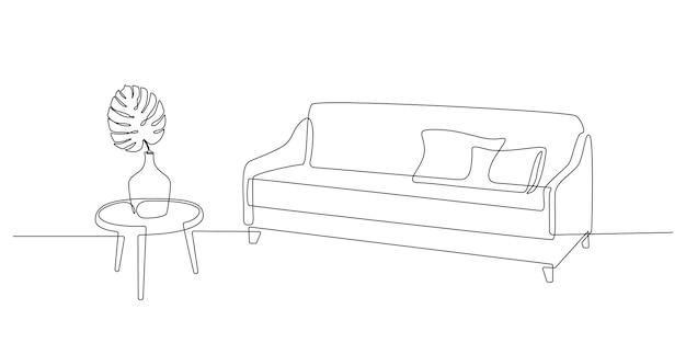 Kontinuierliche einzeilige zeichnung von sofa mit kissen und tisch mit vase mit monsterablatt skandinavien...