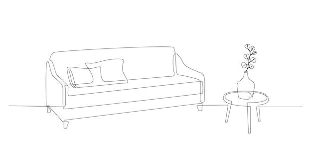 Kontinuierliche einzeilige zeichnung von sofa und tisch mit vase mit skandinavischen modernen pflanzenmöbeln in ...