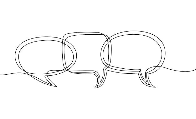 Kontinuierliche einzeilige zeichnung von sprechblasen-schwarz-weiß-grafik-vektorillustration
