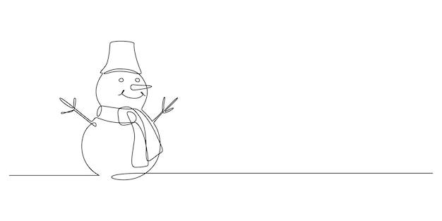 Kontinuierliche einzeilige zeichnung von weihnachtsschneemann in hut mit schal lustige winterfigur im doodle
