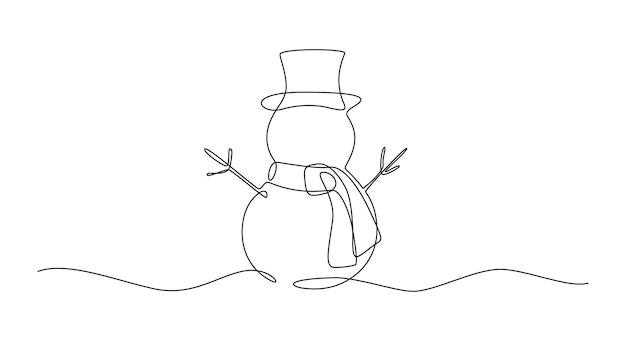 Kontinuierliche einzeilige zeichnung von weihnachtsschneemann in hut mit schal süße winterfigur in doodle