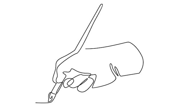 Kontinuierliche handlinie, die eine pinselillustration hält
