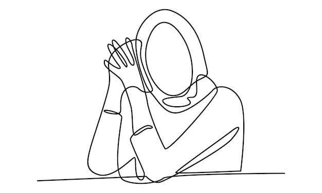 Kontinuierliche linie der arabischen frau mit hijab-illustration