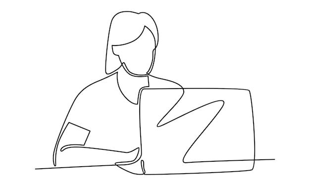Kontinuierliche linie der frau, die an der laptop-computerillustration arbeitet
