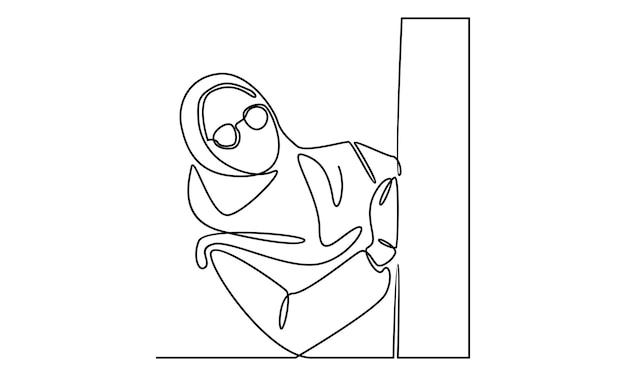 Kontinuierliche linie der frau hijab illustration