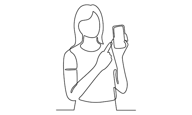 Kontinuierliche linie der frau mit smartphone-illustration