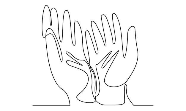 Kontinuierliche linie der muslimischen hand, die illustration betet