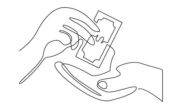 Kontinuierliche linie des geschäftsmannes, der einer anderen handillustration geld gibt
