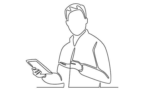 Kontinuierliche linie des geschäftsmannes, der smartphoneillustration hält