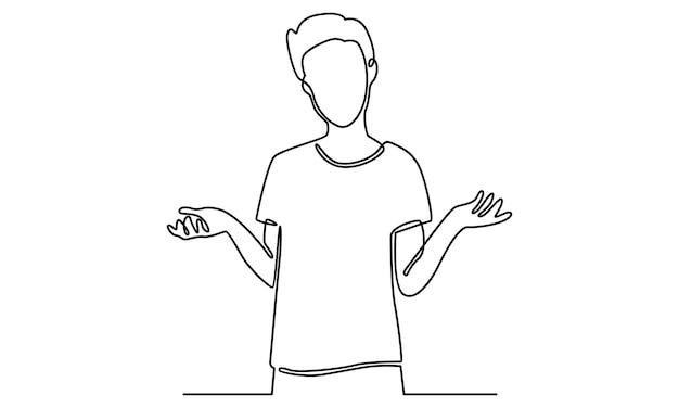 Kontinuierliche linie des mannes, der an wahlillustration denkt