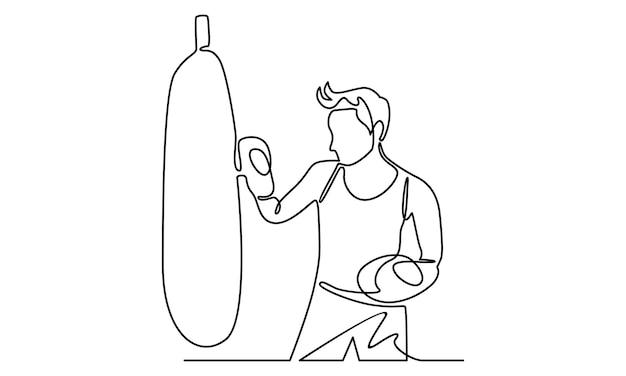 Kontinuierliche linie des mannes, der die sandsackillustration stanzt