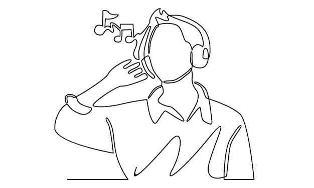 Kontinuierliche linie des mannes, der kopfhörer trägt, die musikillustration hört