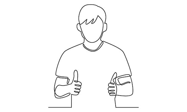 Kontinuierliche linie des mannes, der mit beiden händen ein daumen-hoch-zeichen macht
