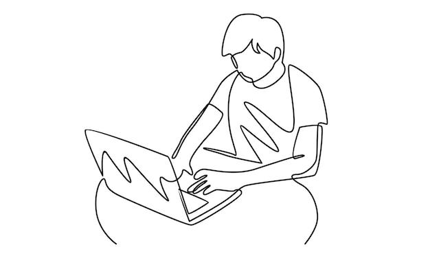 Kontinuierliche linie des mannes, der mit laptopillustration arbeitet