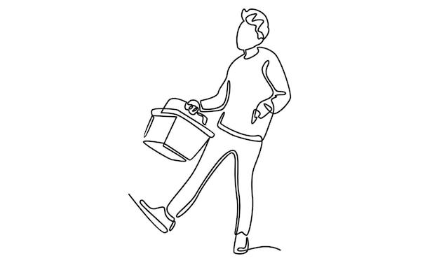 Kontinuierliche linie des mannes mit einkaufstaschenillustration