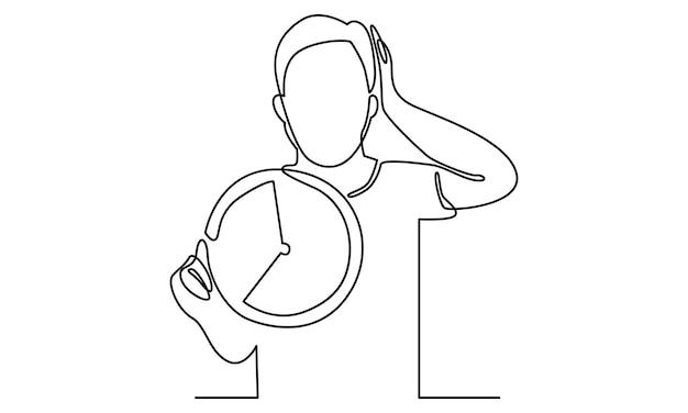 Kontinuierliche linie des mannes schockiert über die verspätete frist zur illustration