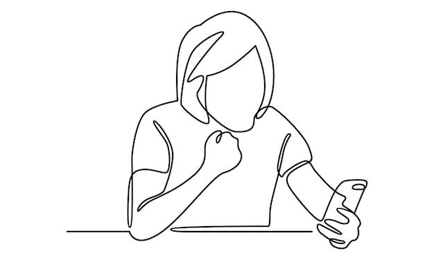 Kontinuierliche linie einer frau, die mit ihrem freund über die chat-app-illustration chattet