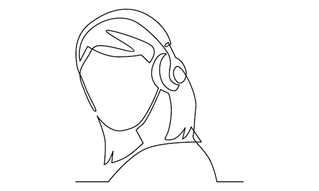 Kontinuierliche linie einer frau, die musik über drahtlose kopfhörer hört