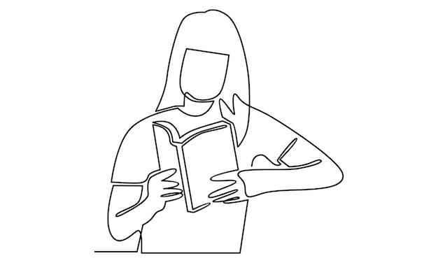 Kontinuierliche linie einer frau liest eine buchillustration