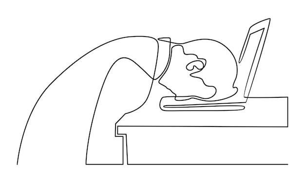 Kontinuierliche linie müder mitarbeiter, die am arbeitsplatz auf laptop-tastaturillustration schlafen
