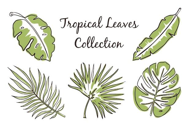 Kontinuierliche linie tropische blätter-sammlung. exotische blumenartikel für logo, emblem, aufkleber, drucke, einladungen, poster, grußkarten, spa- und schönheitspflegeprodukte. premium-vektor