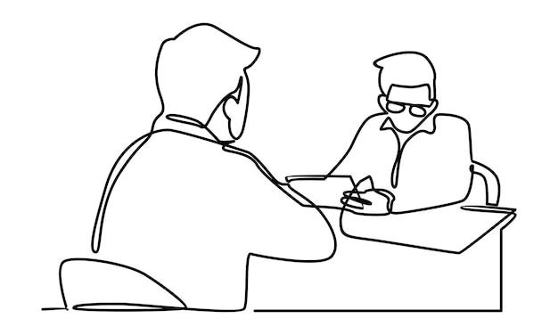 Kontinuierliche linie von business consultant manager und mitarbeiterillustration