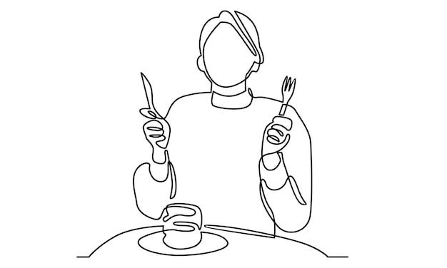 Kontinuierliche linie von frau, die pfannkuchen zum frühstück isst
