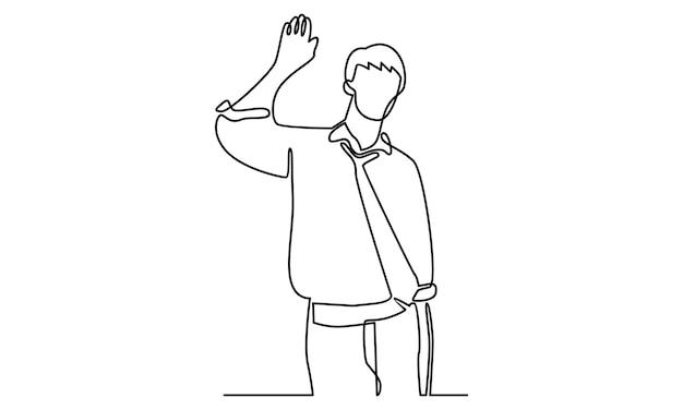 Kontinuierliche linie von geschäftsmann, die jemanden mit erhobener hand grüßt