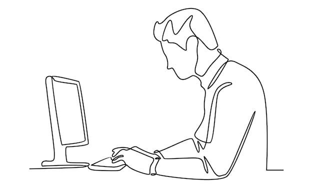 Kontinuierliche linie von geschäftsmann, die mit computerillustration arbeitet