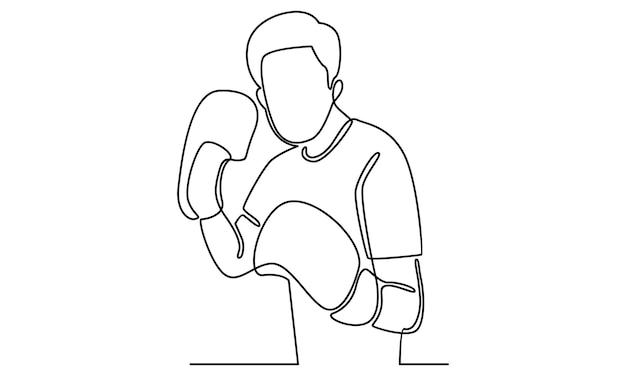 Kontinuierliche linie von mann mit boxhandschuhen abbildung