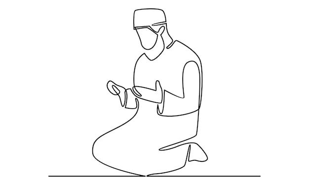 Kontinuierliche linie von muslimen, die salah salat shalat sholaat illustration machen