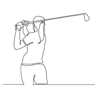 Kontinuierliche linienzeichnung eines golfspielers, der den ball in vollem schwung für ein spiel schlägt sportliche golferin