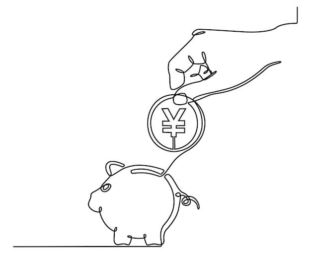 Kontinuierliche linienzeichnung von händen mit münzen und sparschwein-währungssparkonzept