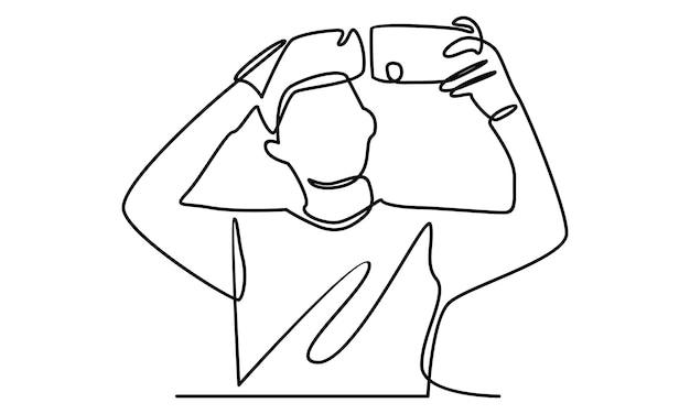 Kontinuierliche menschenlinie macht ein selfie mit kamera-handy-illustration