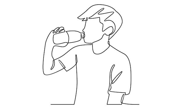 Kontinuierliche menschenlinie trinkt wasser aus einer flaschenillustration
