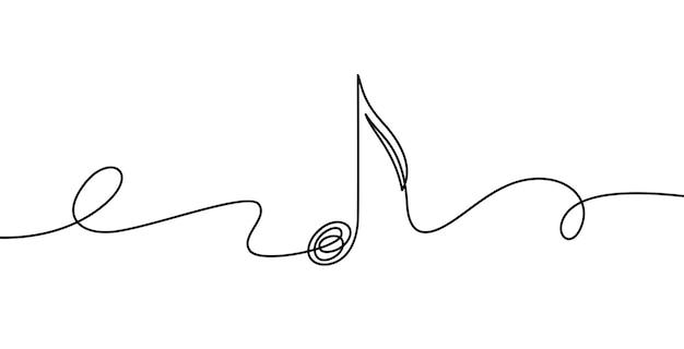 Kontinuierliche musiknote. musikalisches symbol in einem linearen minimalistischen stil. trendige abstrakte wellenmelodie. vektorentwurfsskizze des tons. illustration musikalischer grafischer kontur, minimalistischer notenumriss